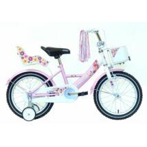 """KRP BMX16"""" Swan fehér/rózsaszín kosárral és babaüléssel"""